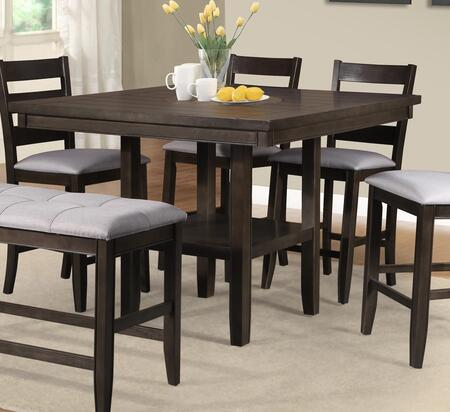 Ellie Collection EL723-T Counter Height Put Table with Faux Marble Round Insert and 4 Legs in Brown