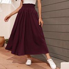 Solid Paperbag Waist Flared Skirt
