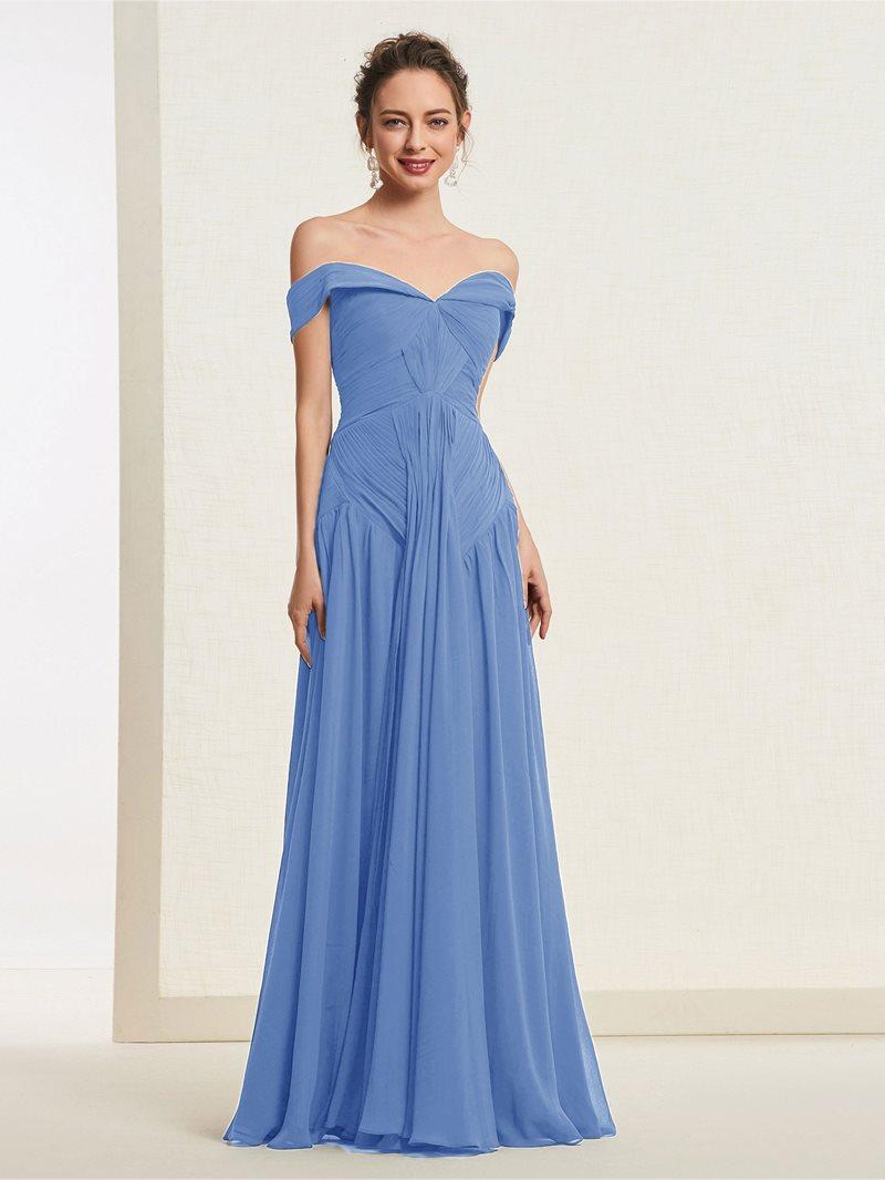 Ericdress Off-The-Shoulder Pleats A-Line Prom Dress