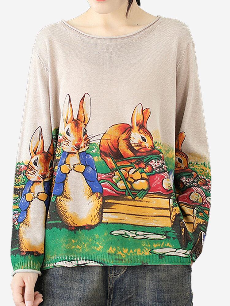 Vintage Print Animal Crew Neck Sweater