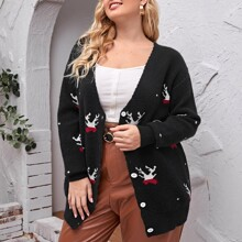 Plus Graphic Pattern Button Up Cardigan