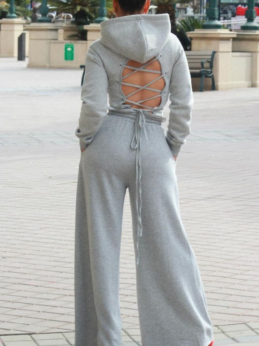 LW Lovely Casual Hooded Collar Hollow-out Grey Two Piece Pants Set