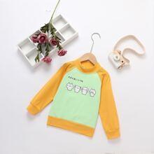 Toddler Girls Japanese Letter And Cartoon Graphic Sweatshirt