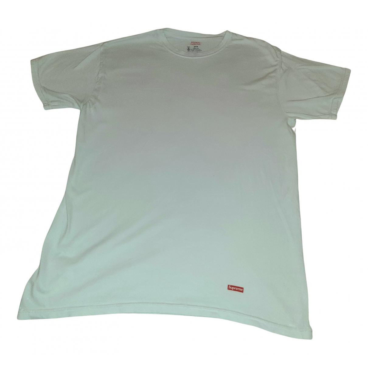 Supreme N White Cotton T-shirts for Men M International