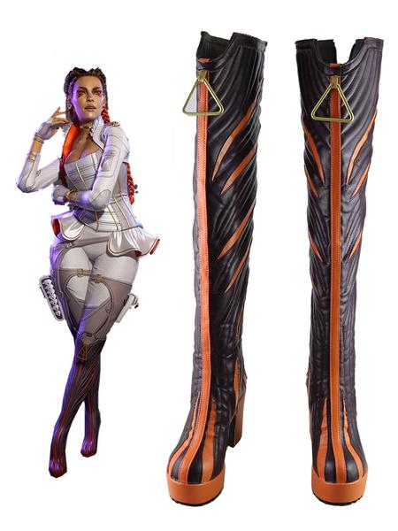 Milanoo Apex Legends Season 5 Loba Grey Shoes Cosplay Costume Boots Halloween