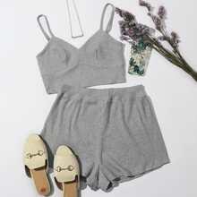 Rib-knit Cami Top & Shorts Set