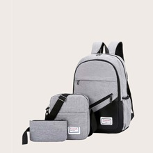 3pcs Color Block Backpack With Clutch Bag