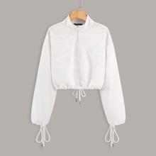 Einfarbiges Kord Sweatshirt mit halber Reissverschlussleiste und Kordelzug
