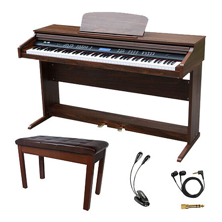 Sawtooth 88-key Digital Console Piano with Bench and Accessories, One Size , Brown