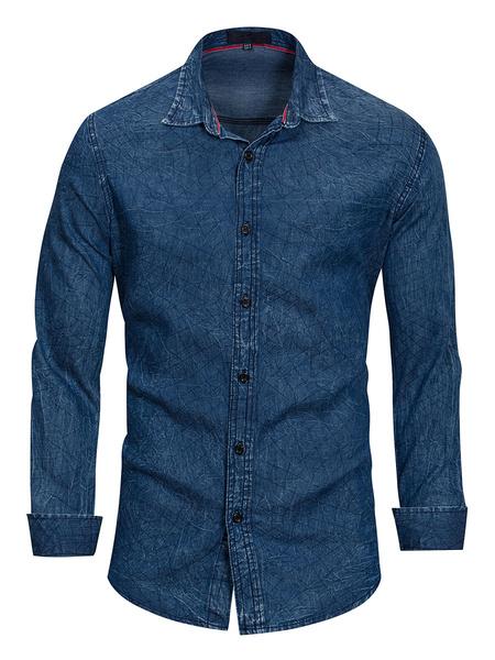 Milanoo Camisas vaqueras azules Camisas de manga larga con cuello vuelto para hombres