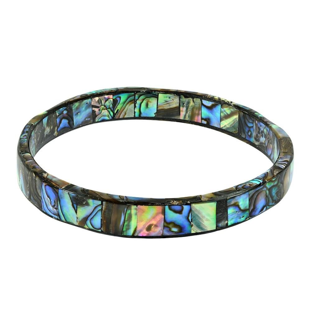 Handmade Shimmering Ocean Colors Abalone Shell Mosaic Bangle Bracelet  (Thailand) (Abalone)