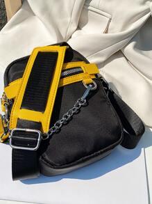 Men Chain Decor Zip Front Crossbody Bag
