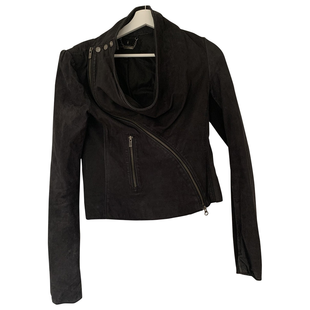 All Saints N Black Leather Leather jacket for Women 10 UK