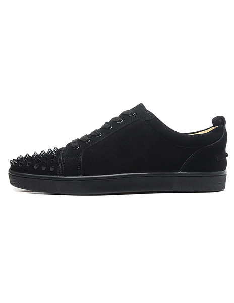 Milanoo Mens Sneakers 2020 Shoes Black Lace up Round toe Studded Skate Shoes