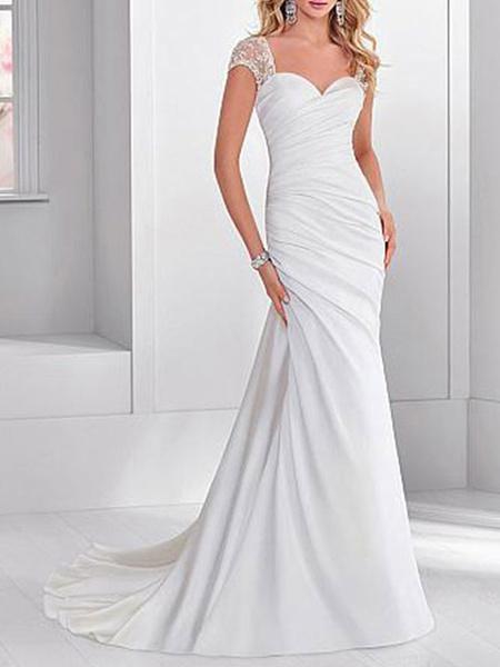 Milanoo Simple Wedding Dress Lycra Spandex Sweetheart Neck Short Sleeves Beaded Mermaid Bridal Dresses