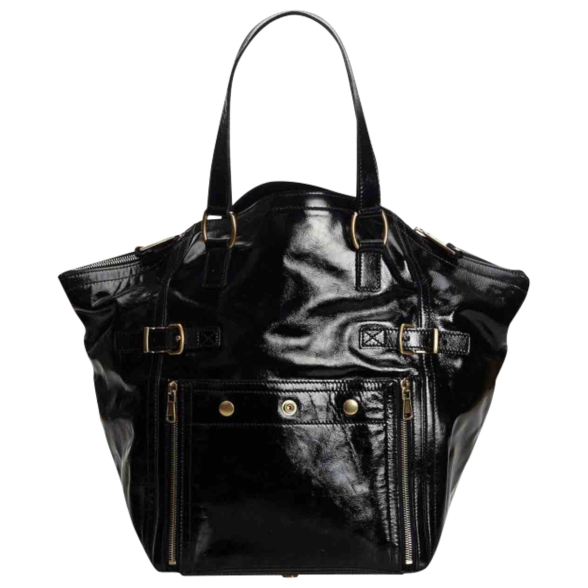 Yves Saint Laurent \N Handtasche in  Schwarz Lackleder