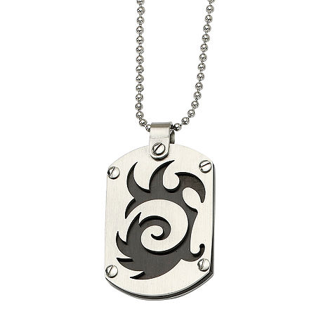 Mens Stainless Steel Black Ion-Plated Swirl Dog Tag Pendant, One Size , No Color Family