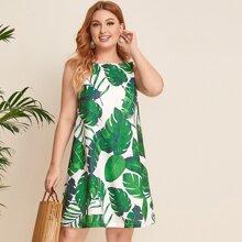 Grosse Grossen - Ärmelloses Kleid mit tropischem Muster