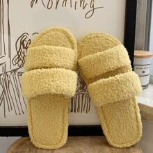 Double Strap Fluffy Slippers