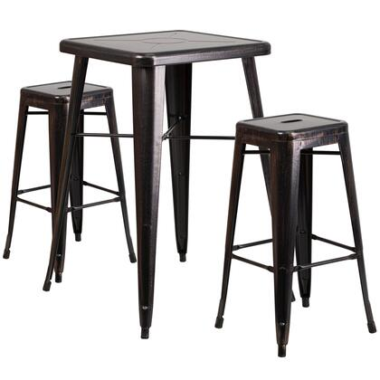 CH31330B Collection CH-31330B-2-30SQ-BQ-GG Indoor-Outdoor Bar Table Set with 2 Square Seat Backless Stools  Footrest  Protective Floor Glides and