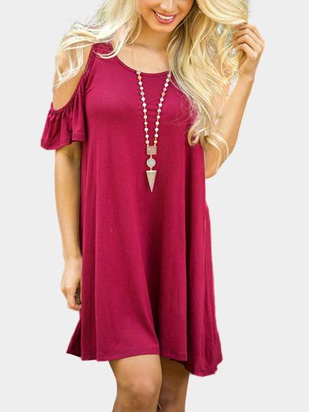 Yoins Burgundy Cold Shoulder Loose Mini Dress