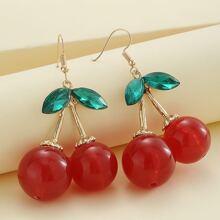 Rhinestone Cherry Drop Earrings