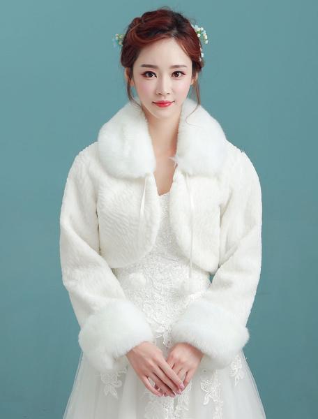 Milanoo Chal de novias de pelo de conejo de Angora de marfil con pomponde cuello vuelto con manga larga para boda