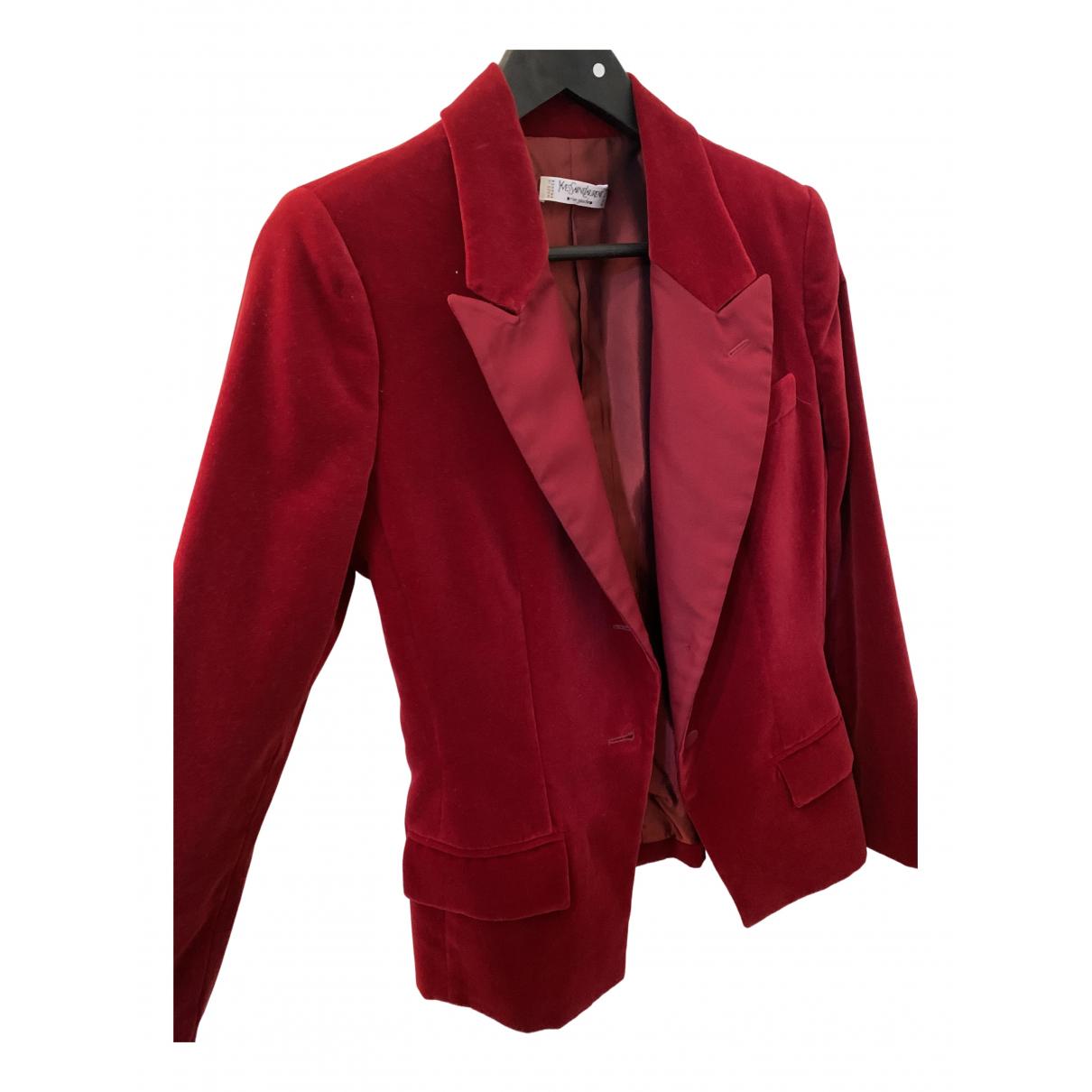 Yves Saint Laurent - Veste   pour femme en velours - rouge