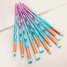 10pcs Duo-fiber Color Block Handle Eye Makeup Brush Set