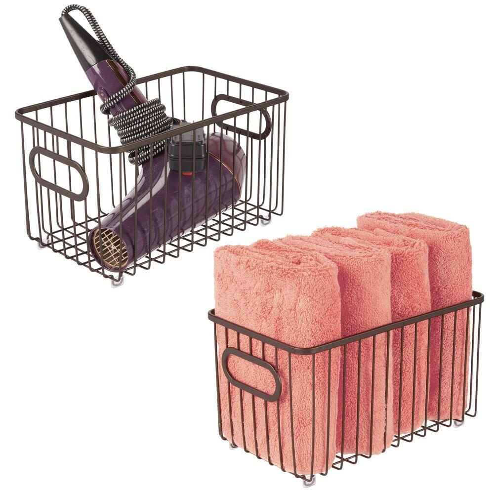Metal Wire Bathroom Storage Organizer Basket Bin in Bronze, 10.1 x 6.1 x 5.5, Set of 2, by mDesign