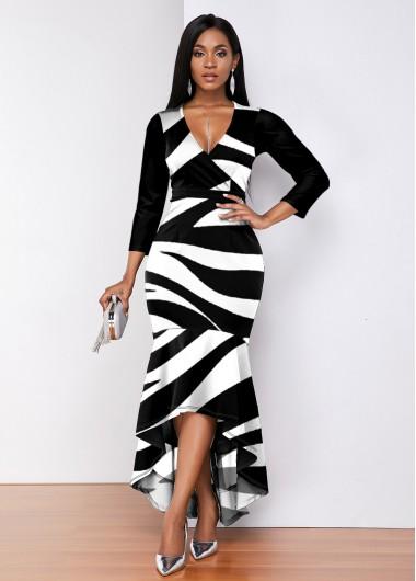 Rosewe Women Black And White Zebra Print High Low Plunging Neck Evening Party Dress Three Quarter Sleeve Striped V Neck Elegant Dress - S