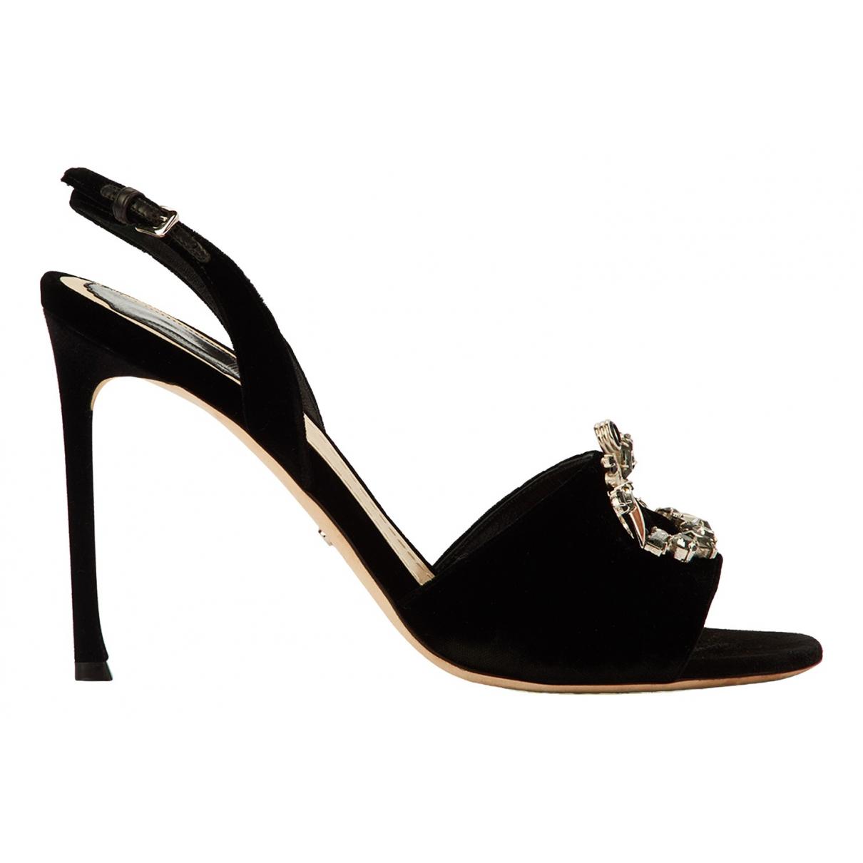Dior N Black Velvet Sandals for Women 8 UK
