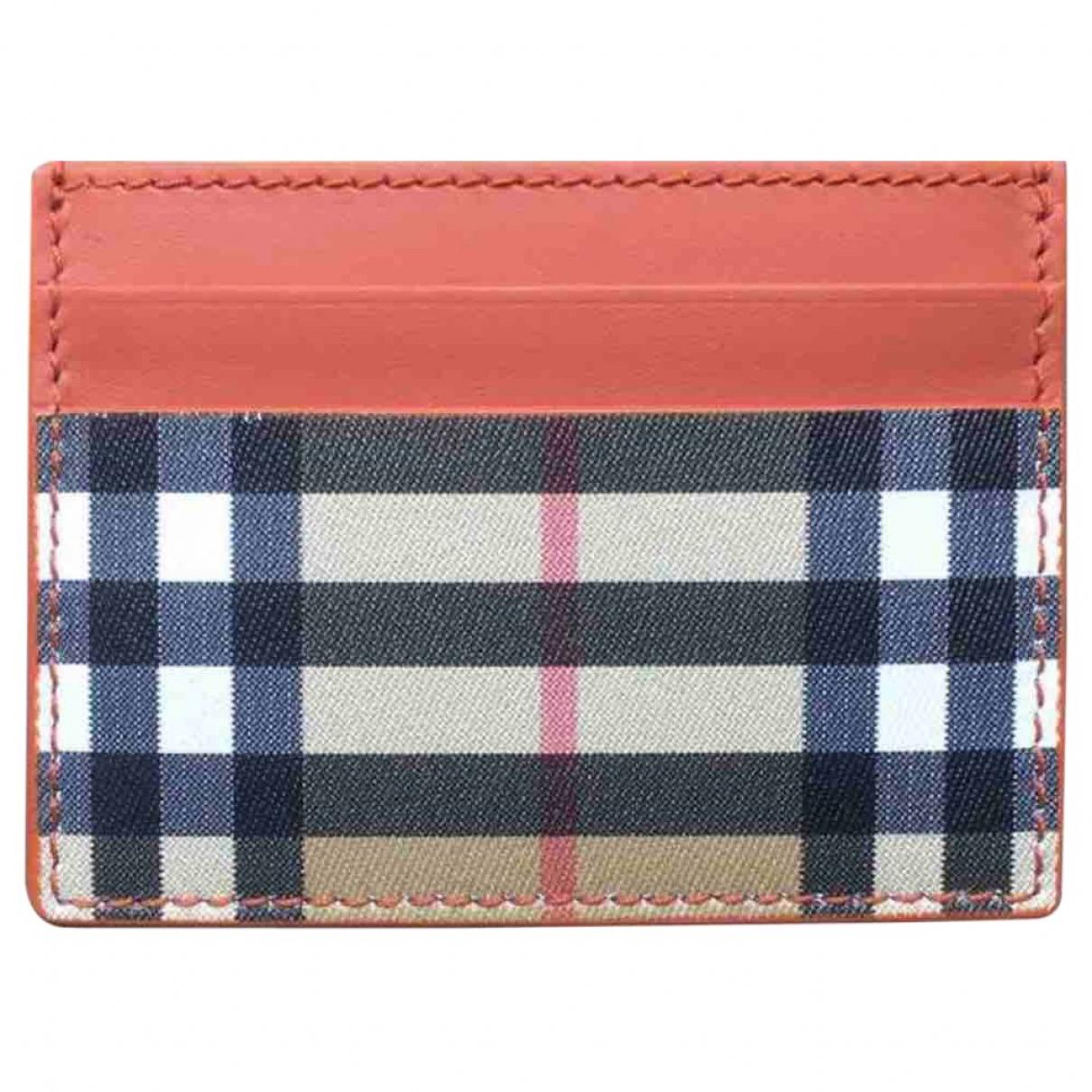 Burberry \N Orange Leather Small bag, wallet & cases for Men \N