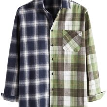 Men Colorblock Plaid Print Button Through Shirt