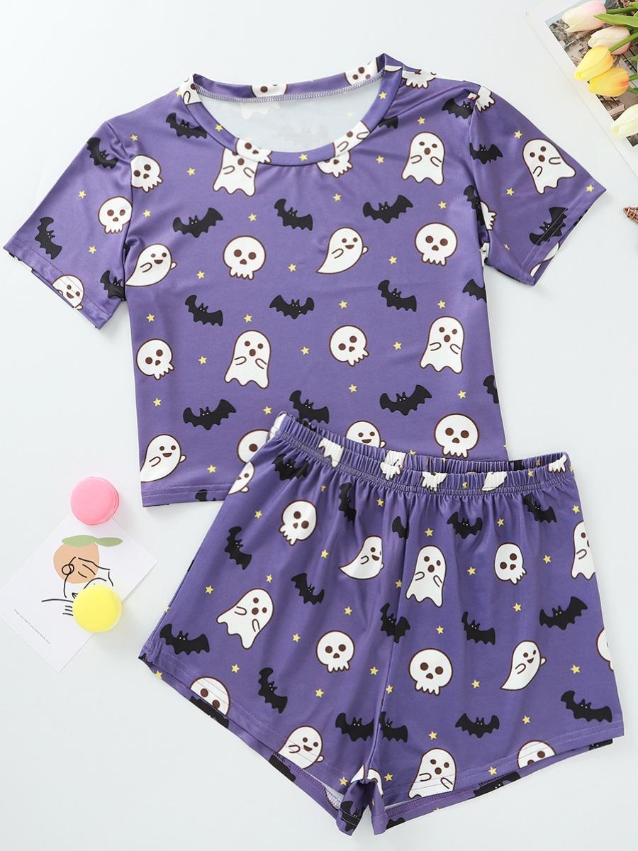 LW lovely Leisure O Neck Cartoon Print Purple Loungewear