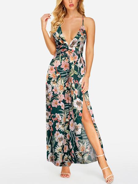 Yoins Green Random Floral Print Deep V Neck Sleeveless Dress