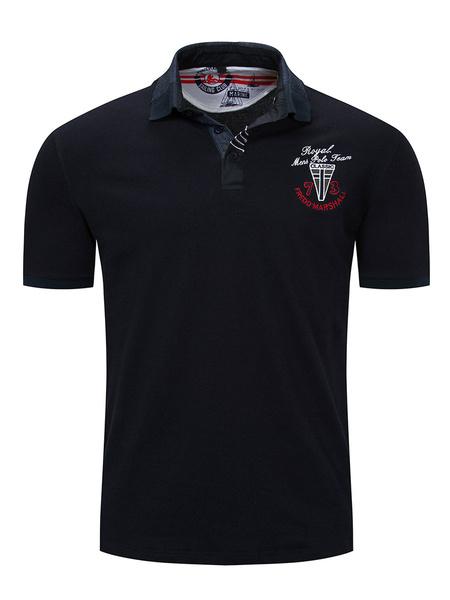 Milanoo Polo de pique de ajuste regular para hombres con emblema y cuello con punta