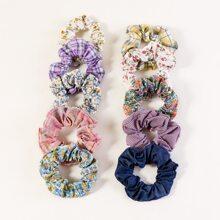 10 Stuecke Scrunchie mit Bluemchen Muster