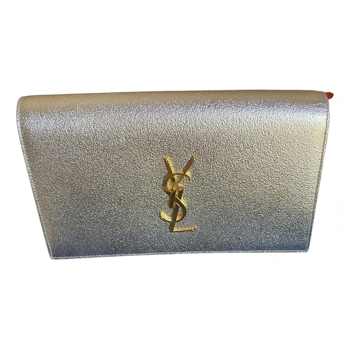 Saint Laurent - Pochette Kate monogramme pour femme en cuir - argente