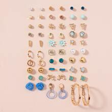 30 pares pendientes con diamante de imitacion y perla artificial