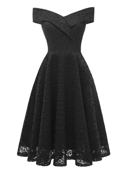 Milanoo Women Vintage Dress Off The Shoulder Pleated 1950S Back Zipper Closure Short Sleeves Rockabilly Dress
