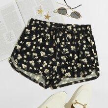 Shorts mit Knoten um die Taille und Gaensebluemchen Muster