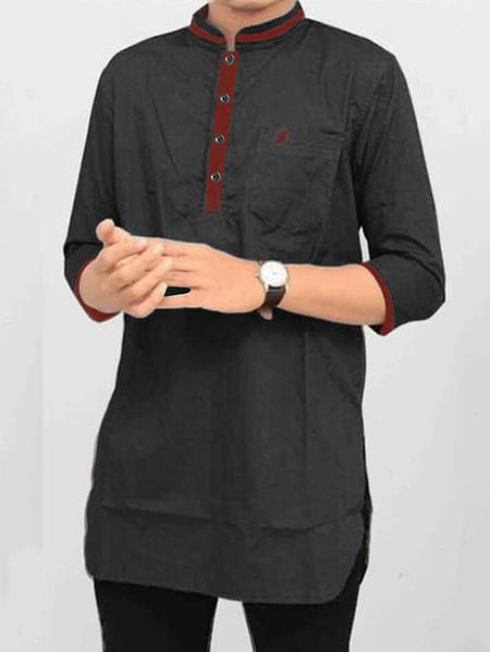 Yoins INCERUN Men India Kurta Long Sleeve Patch Pocket Stand Collar Shirt
