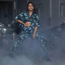 Drop Shoulder Camo Longline Blouse & Cargo Pants Set