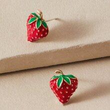 1pair Strawberry Design Stud Earrings