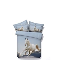Running White Horse and Clouds Printed Cotton 4-Piece 3D Bedding Sets/Duvet Covers