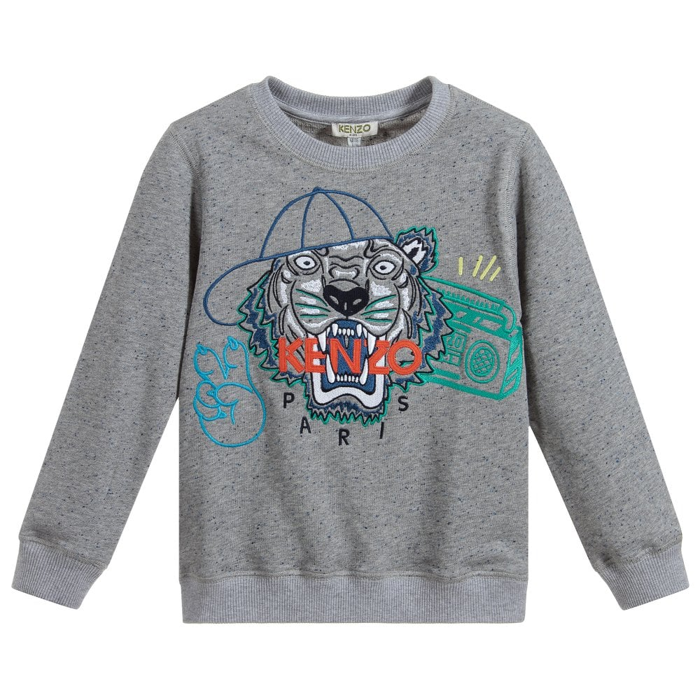 Kenzo Kids Tiger Sweatshirt Colour: GREY, Size: 10 YEARS