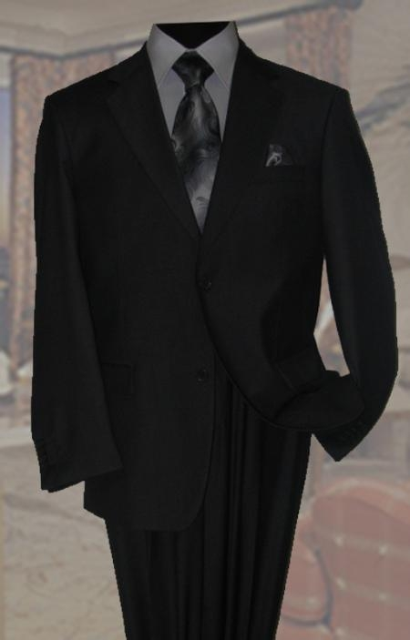 Black Mens Wool Suit 2 Button With Hand Pick Stitching on Lapel