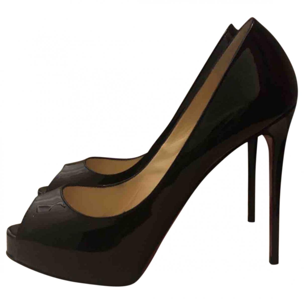 Christian Louboutin - Escarpins Very Prive pour femme en cuir verni - noir