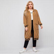 Plus Flap Pocket Stripe Trim Zipper Placket Hooded Cord Coat